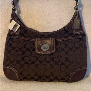 NWT Coach Signature Chocolate Hobo Bag